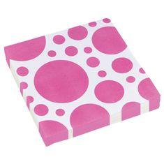 Amscan Ubrousky puntíkované růžové 20ks 33x33cm