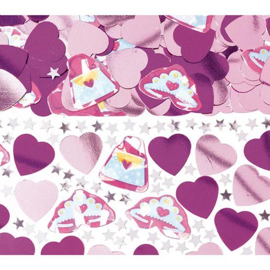 Amscan Konfety na párty růžové srdíčka a hvězdičky 14g