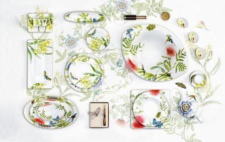 Villeroy & Boch servirni krožnik, 35x18 cm, cvetlični motiv
