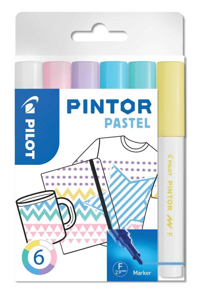 Pilot Set dekorativních popisovačů Pintor F, pastelová, 6 barev, 1 mm