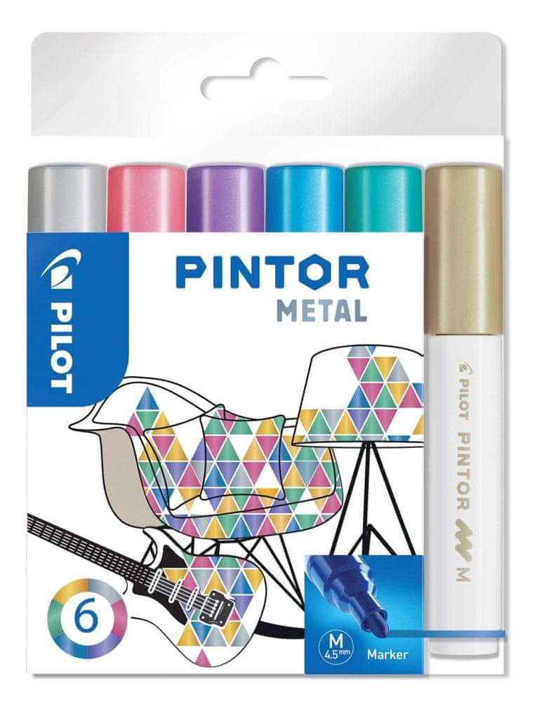 Pilot Set dekorativních popisovačů Pintor M, metalická, 6 barev, 1,4 mm