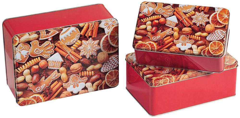 Kesper Sada dóz z kovu, hranaté 3 ks vzor vánoční
