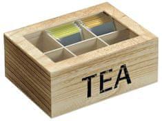 Kesper škatla za čaj s 6 pregradami, naraven les