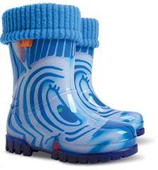 Demar Twister Lux Print HH otroški škornji, podloženi, z motivom zebre, modri, 20/21