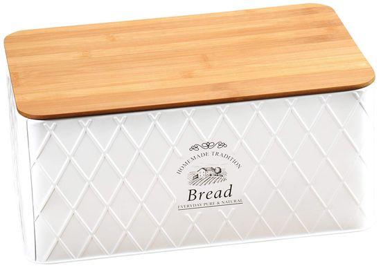 Kesper Landhaus posoda za kruh z desko za rezanje, bela