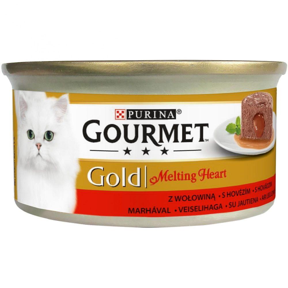 Gourmet Gold Melting Heart jemná paštika s omáčkou uvnitř s hovězím 24x85 g