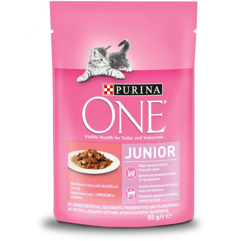 Purina ONE Junior mini filetky s lososem a mrkví ve šťávě 24x85 g