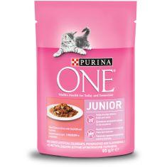 Purina ONE Junior vrečke za mačke, mini fileji z lososom in korenjem v soku, 24x 85 g