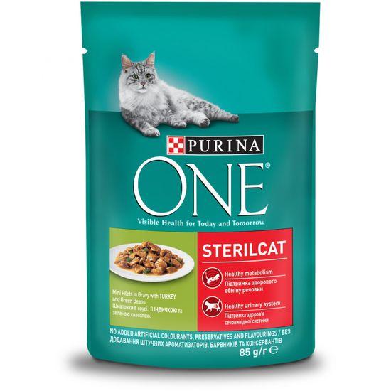 Purina ONE SterilCat vrečke za mačke, mini fileji s piščancem in stročjim fižolom v soku, 24x 85 g