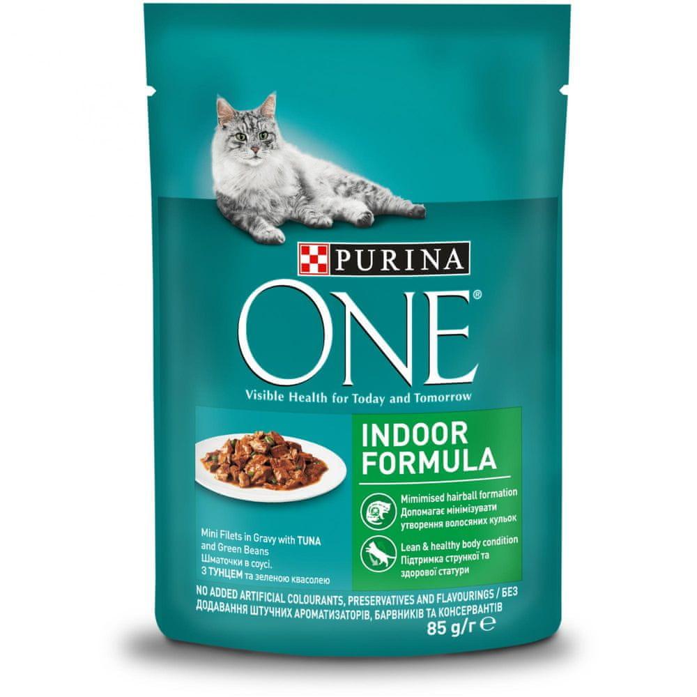 Purina ONE Indoor mini filetky s tuňákem a zelenými fazolkami ve šťávě 24x85 g