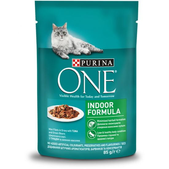 Purina ONE Indoor vrečke za mačke, mini fileji s tuno in stročjim fižolom v soku, 24x 85 g
