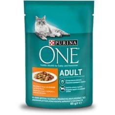 Purina ONE ONE Adult vrečke za mačke, mini fileji s piščancem in stročjim fižolom v soku, 24x 85 g