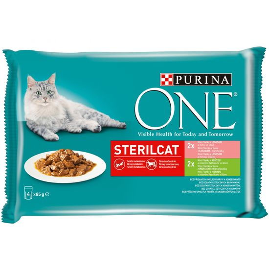 Purina ONE SterilCat vrečke za mačke, mini fileji s puranom, lososom, korenjem in stročjim fižolom v soku, 48 x 85 g