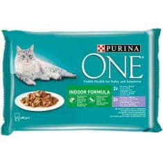 Purina ONE Indor vrečke za mačke, mini fileji s tuno in stročjim fižolom ter s teletino in korenjem v soku, 48 x 85 g