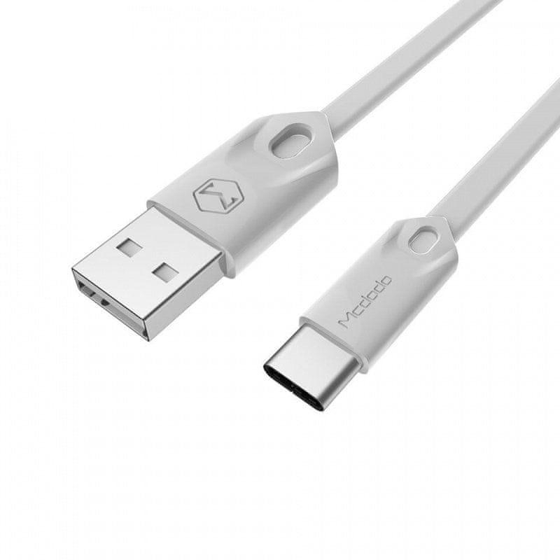Mcdodo plochý nabíjecí / datový kabel USB-C Gorgeous Series 1m bílá
