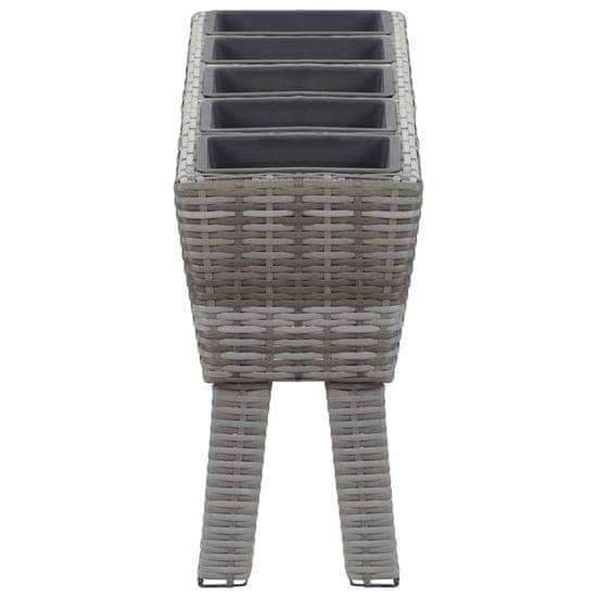 shumee Visoko cvetlično korito z nogami in 5 lonci 118x25x50 cm sivo
