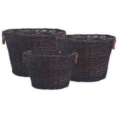 shumee Košare za drva 3 kosi temno rjava vrba