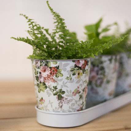 Esschert Design sada zinkových květináčů s podmiskou, 3 ks