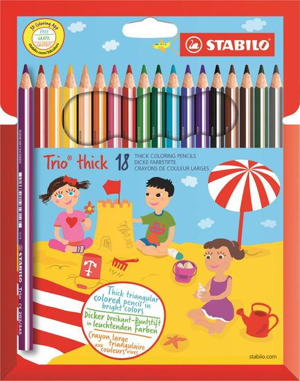 Stabilo Barevné pastelky Trio thick sada, 18 barev, trojhranné, jumbo