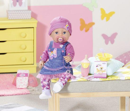 BABY born Soft Touch, deklica v denim obleki, 43 cm