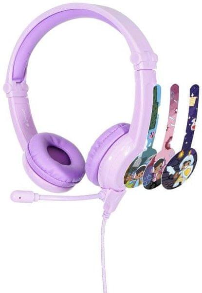 BuddyPhones GALAXY - dětská drátová herní sluchátka s mikrofonem, fialová
