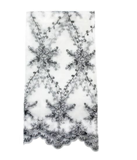 Lene Bjerre Vyšívaný obrus PHILINA 160 x 280 čierna / biela