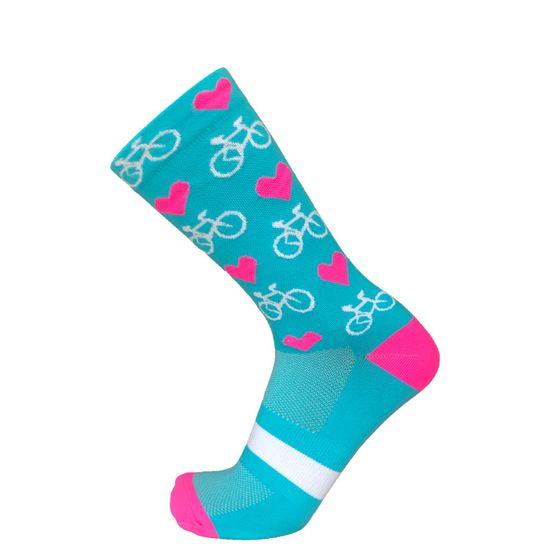 Duck Bike Cyklistické ponožky Hearts & Bikes