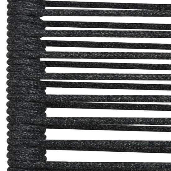shumee 7 ks. záhradná jedálenská súprava, šnúra a oceľ, čierna