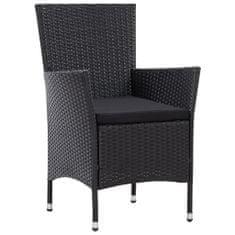 shumee Vrtni stol 2 kosa črne barve poli ratan