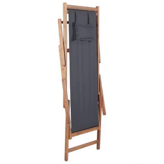 shumee Zložljiv stol za na plažo blago in lesen okvir sive barve