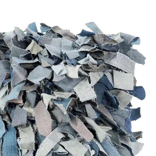 shumee Blazina džins kosmata modra 60x60 cm usnje in bombaž