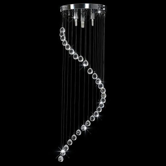 shumee Stropna svetilka s kristalnimi kroglicami srebrna spiralna G9