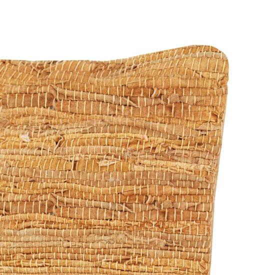 shumee 2 db sárgásbarna bőr és pamut chindi párna 45 x 45 cm