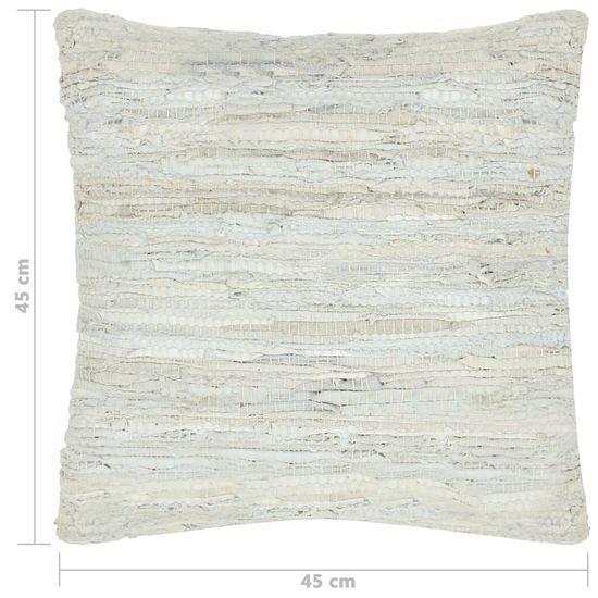 shumee 2 db világosszürke bőr és pamut chindi párna 45 x 45 cm