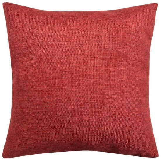shumee 4 db 80x80 cm burgundi vörös vászon jellegű párnahuzat