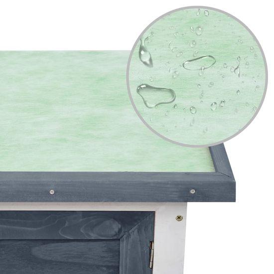 shumee Zunanji zajčnik z 1 nadstropjem siv lesen