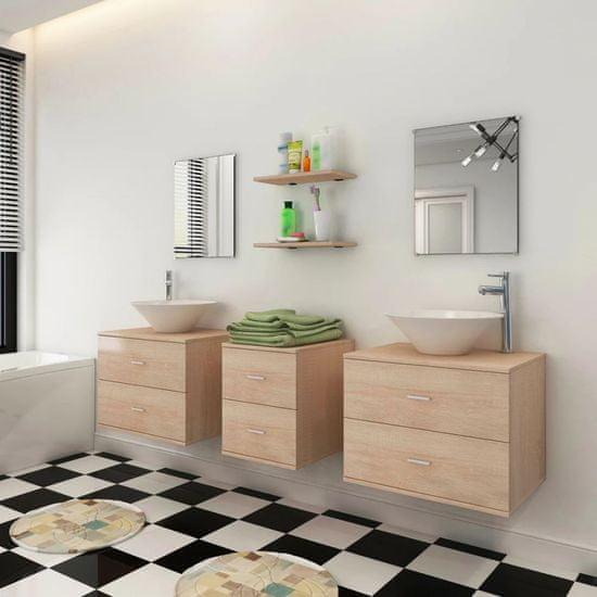 shumee Sedem delni komplet kopalniškega pohištva z umivalnikoma bež