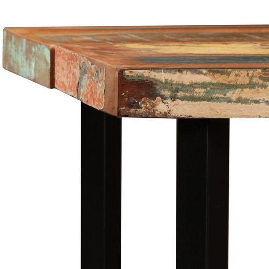 shumee Zestaw 7 mebli barowych, drewno odzyskane, skóra i płótno
