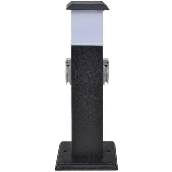 shumee Črn vrtni stebriček z vtičnicami in lučjo