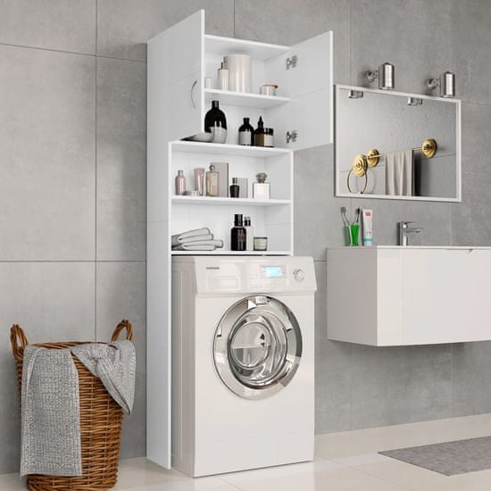 shumee Omara za pralni stroj bela 64x25,5x190 cm iverna plošča