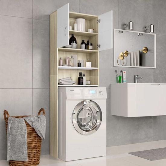 shumee Szafka na pralkę, biel i dąb sonoma, 64x25,5x190 cm