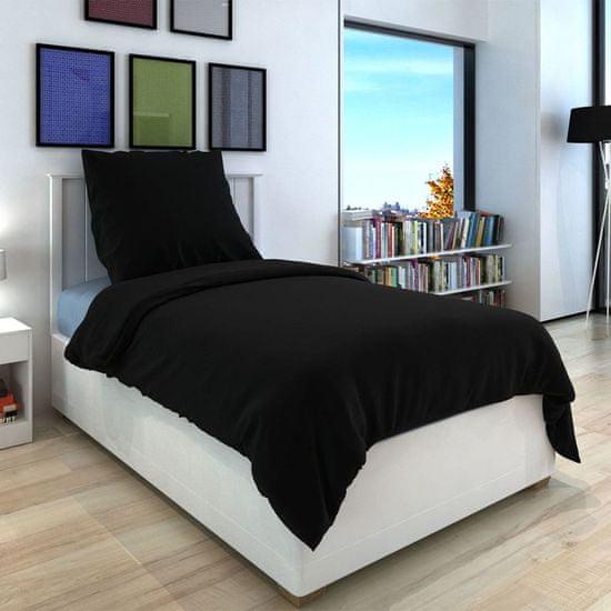 shumee Zestaw pościeli, bawełna, czarny, 155x220/60x70 cm