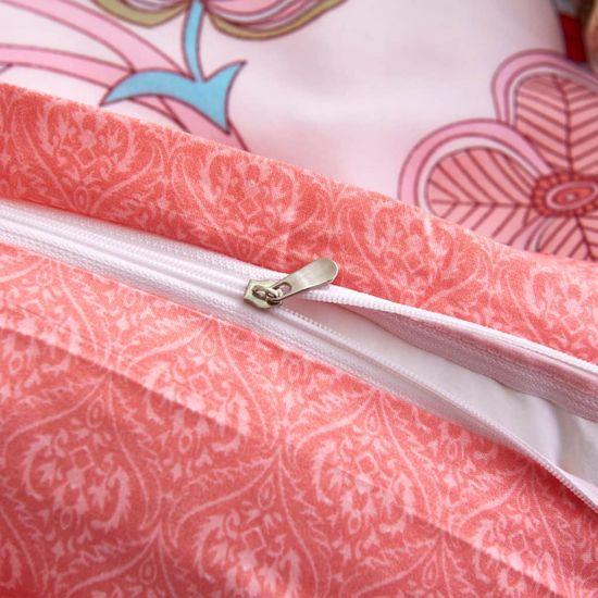shumee pink csíkos/virágmintás ágyneműhuzat-garnitúra 240x220/80x80 cm