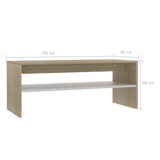 shumee Klubska mizica bela in sonoma hrast 100x40x40 cm iverna plošča