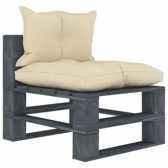 shumee Vrtni sredinski kavč iz palet s krem blazinami lesen