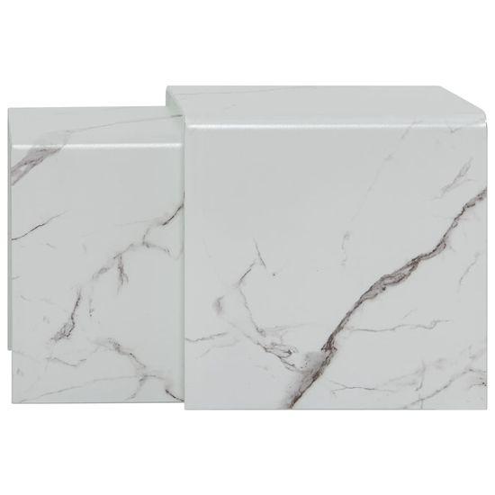 shumee Klubske mizice 2 kosa bele izgled marmorja 42x42x41,5 cm steklo