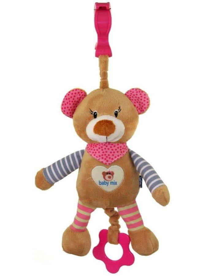 Baby Mix Dětská plyšová hračka s hracím strojkem Baby Mix Medvídek růžový Růžová
