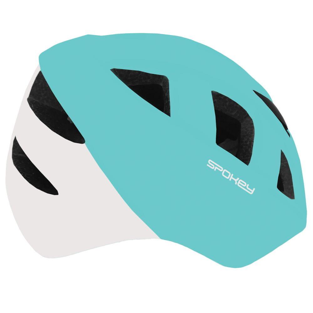 Spokey CHERUB Dětská cyklistická přilba IN-MOLD, 44-48 cm, tyrkysovo-bílá
