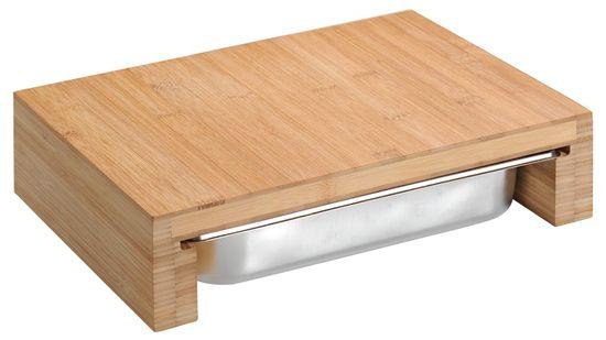 Kesper rezalna deska z gastro posodo, bambus, 37,5 × 27,5 × 9,5 cm