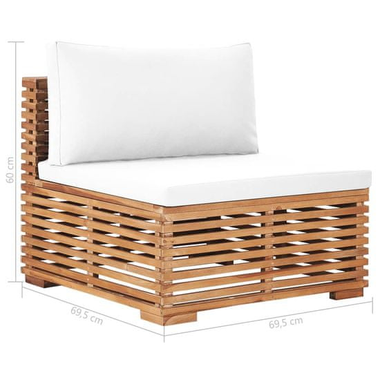 shumee Záhradná stredná pohovka s krémovým vankúšom teakové drevo